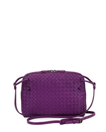 Small Pillow Woven Crossbody Bag, Purple