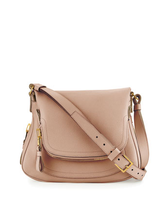 Jennifer Medium Leather Shoulder Bag, Petal