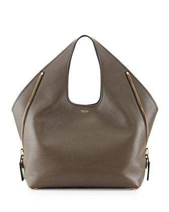 Jennifer Side-Zip Leather Hobo Bag, Gray