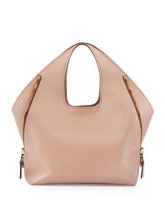 Jennifer Side-Zip Leather Hobo Bag, Petal