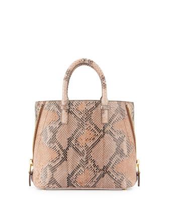 Jennifer Small Trap Python Tote Bag, Petal