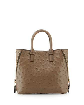 Jennifer Ostrich Tote Bag, Taupe