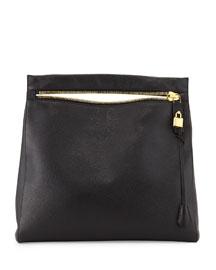 Alix Grained Leather Zip Hobo Bag, Black