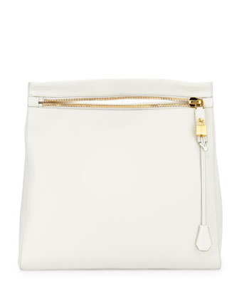 Alix Grained Leather Zip Hobo Bag, White