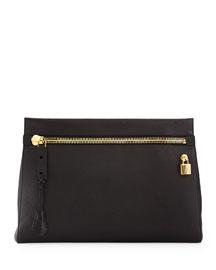 Alix Large Zip & Padlock Clutch Bag, Black