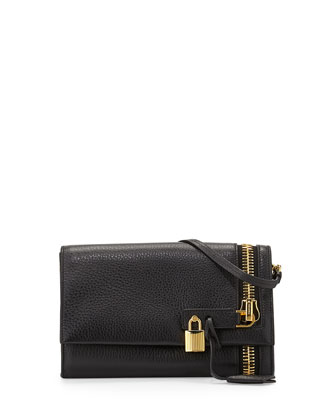 Alix Zip & Padlock Crossbody Bag, Black