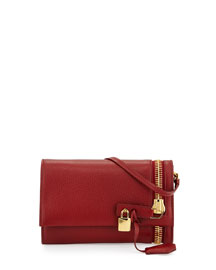 Alix Zip & Padlock Crossbody Bag, Red
