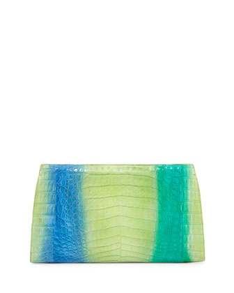 Crocodile Razor Ombre Clutch, Green