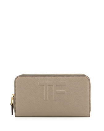 TF Zip-Around Leather Wallet, Taupe