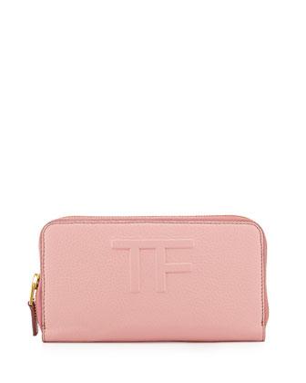 TF Zip-Around Leather Wallet, Rose