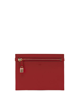 Large Calfskin Zip Clutch Bag, Red
