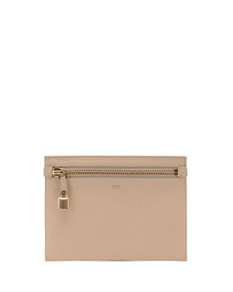 Large Calfskin Zip Clutch Bag, Petal