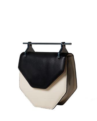 Amor/Fati Bicolor Geometric Satchel Bag, Black/Ivory