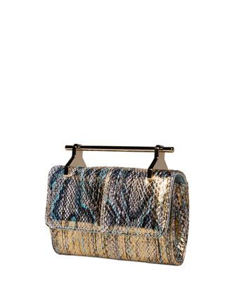 Mini Fabricca Metallic Snakeskin Satchel Bag, Gold/Blue