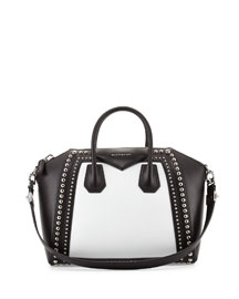 Antigona Medium Studded Bicolor Satchel Bag