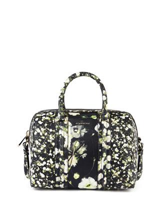Lucrezia Baby's Breath-Print Leather Medium Duffel Bag