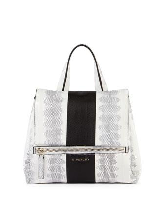 Pandora Pure Two-Tone Snakeskin Satchel Bag, Black White