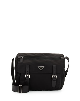 Vela Medium Nylon Messenger Bag, Black (Nero)