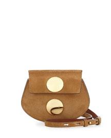 Faye Mini Suede Crossbody Bag, Beige
