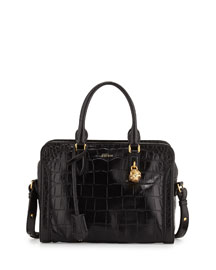 Small Skull Padlock Croc-Embossed Satchel Bag