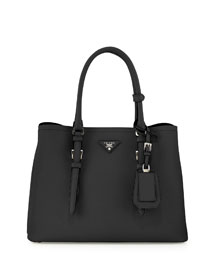 Saffiano Cuir Covered-Strap Double Bag, Black (Nero)