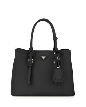 Saffiano Cuir Covered-Strap Double Bag, Black (Nero)