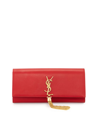 Monogramme Tassel Clutch Bag, Lipstick Red
