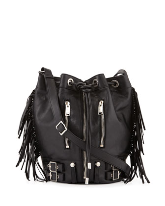 Rider Medium Box Leather Bucket Bag, Black