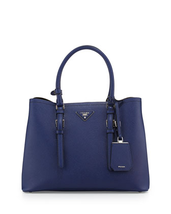 Saffiano Cuir Covered-Strap Double Bag, Blue