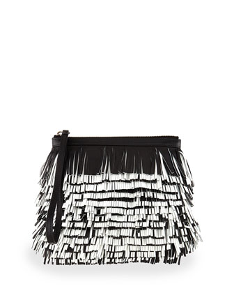 Bicolor Fringe Convertible Clutch Bag, Black/White