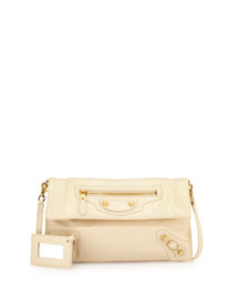 Giant Arena Envelope Clutch Bag with Strap, Cream
