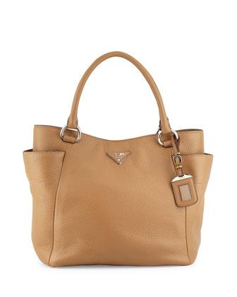 Daino Side-Pocket Tote Bag, Tan (Sesamo)