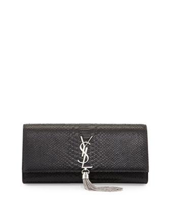 Monogramme Snakeskin Tassel Clutch Bag, Black