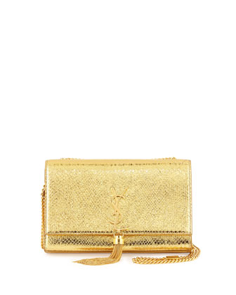 Monogramme Medium Metallic Snake-Embossed Tassel Bag, Gold
