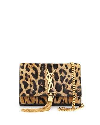 Monogramme Small Leopard-Print Calf Hair Tassel Crossbody Bag, Natural/Black