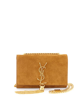 Monogramme Small Suede Tassel Crossbody Bag, Light Ocre