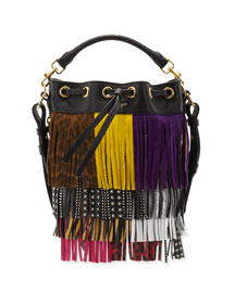 Emmanuelle Mixed-Fringe Small Bucket Bag