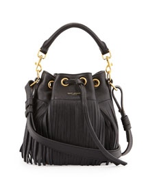 Emanuelle Small Fringe Bucket Bag, Black