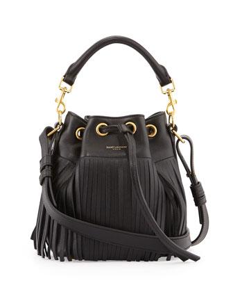 Emanuelle Small Fringe Bucket Bag, Black