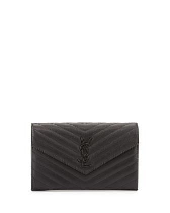 Monogramme Matelasse Wallet-On-A-Chain Bag, Black