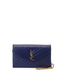 Monogram Matelasse Wallet-On-A-Chain Bag, Blue