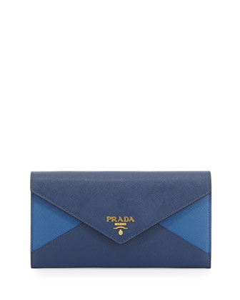 Saffiano Bicolor Letter Wallet, Blue/Navy (Bluette/Azzurro)