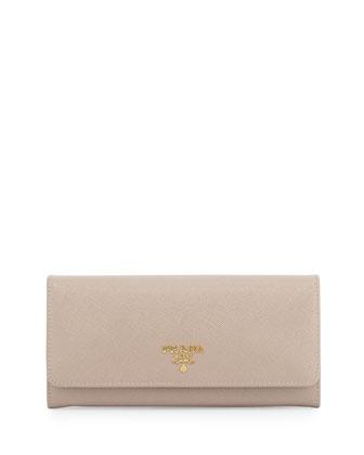 Saffiano Continental Flap Wallet, Beige (Cammeo)
