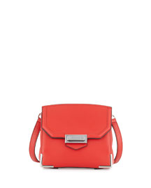 Marion Contrast-Trimmed Leather Satchel Bag, Red
