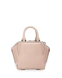 Emile Mini Structured Leather Satchel Bag, Petal