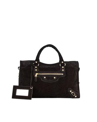 Giant 12 Golden Suede City Bag, Black