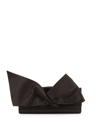Loubibow Satin Flap-Top Clutch Bag, Black