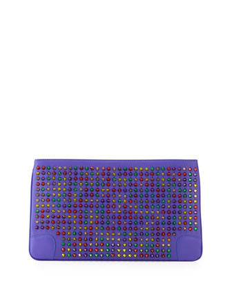 Loubiposh Multicolor Spiked Clutch Bag