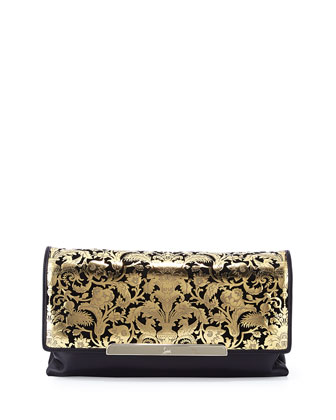 Rougissime Floral Laser-Cut Leather Clutch Bag