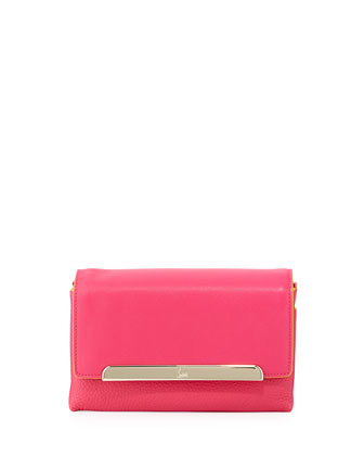 Rougissime Leather Clutch Bag w/ Contrast Piping, Fuchsia